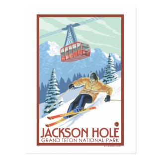 Jackson Hole, esquiador de Wyoming y tranvía Tarjetas Postales