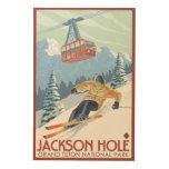 Jackson Hole, esquiador de Wyoming y tranvía Impresiones En Madera