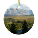 Jackson Hole Mountains and River Ceramic Ornament