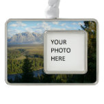 Jackson Hole Mountains and River Silver Plated Framed Ornament