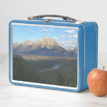 """Jackson Hole Mountains (Grand Teton National Park) Metal Lunch Box<br><div class=""""desc"""">A view of the Grand Teton mountains taken from Grand Teton National Park,  Jackson Hole,  WY.  Check out our store for more scenic photos of mountains in the US National Parks in our store.  This photo is also featured as the widescreen wallpaper &quot;Jackson Hole Mountains&quot; from www.mlewallpapers.com.</div>"""