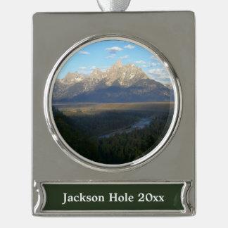 Jackson Hole Mountains (Grand Teton National Park) Silver Plated Banner Ornament