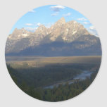 Jackson Hole Mountains Scenic Landscape Classic Round Sticker