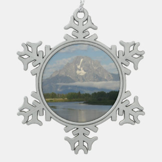 Jackson Hole River Snowflake Pewter Christmas Ornament