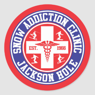 Jackson Hole Snow Addiction Clinic Classic Round Sticker