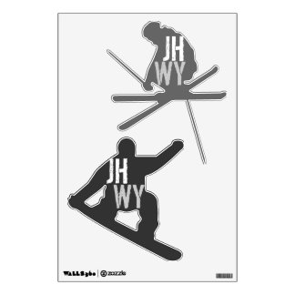 Jackson Hole Snowboarder Skier Wall Decal