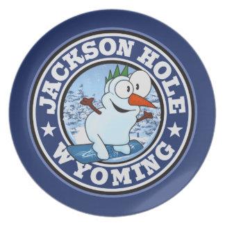 Jackson Hole Snowman CIrcle Party Plate
