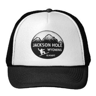 Jackson Hole Wyoming black white snowboard art hat