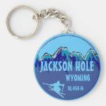 Jackson Hole Wyoming blue ski art keychain