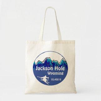 Jackson Hole Wyoming blue ski art reusable bag