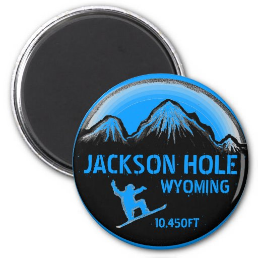 Jackson Hole Wyoming blue snowboard art magnet