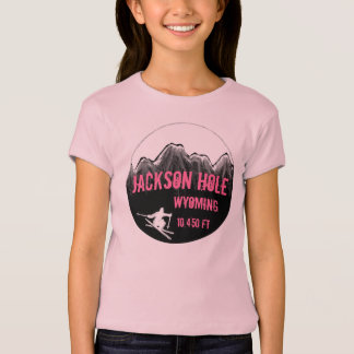 Jackson Hole Wyoming pink girls ski art tee