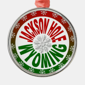 Jackson Hole Wyoming red green snowflake ornament