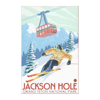 Jackson Hole, Wyoming Skier and Tram Canvas Print