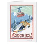 Jackson Hole, Wyoming Skier and Tram Greeting Card