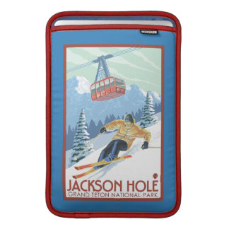 Jackson Hole, Wyoming Skier and Tram MacBook Sleeve