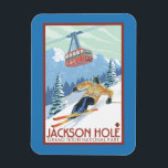 """Jackson Hole, Wyoming Skier and Tram Magnet<br><div class=""""desc"""">Jackson Hole,  Wyoming Skier and Tram Vintage Travel Poster was created in 2007. This image depicts scenes from Grand Teton National Park,  WY.</div>"""