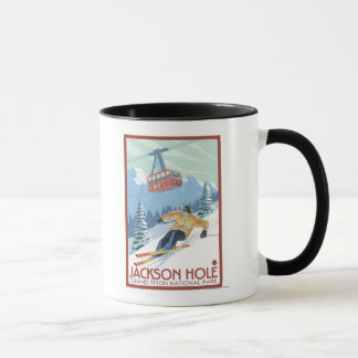 Jackson Hole, Wyoming Skier and Tram Mug