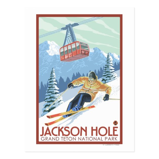 Jackson Hole, Wyoming Skier and Tram Postcard