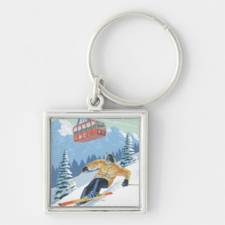 Jackson Hole, Wyoming Skier and Tram Silver-Colored Square Keychain