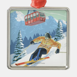 Jackson Hole, Wyoming Skier and Tram Square Metal Christmas Ornament