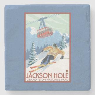 Jackson Hole, Wyoming Skier and Tram Stone Coaster