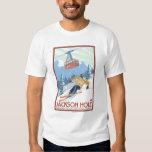 Jackson Hole, Wyoming Skier and Tram T-Shirt