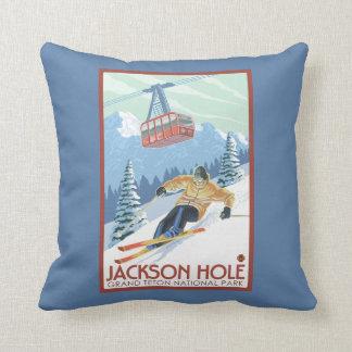 Jackson Hole, Wyoming Skier and Tram Throw Pillow