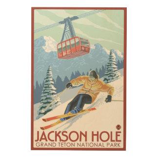 Jackson Hole, Wyoming Skier and Tram Wood Print