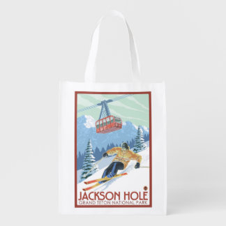 Jackson Hole, Wyoming Skier and Tram Reusable Grocery Bag