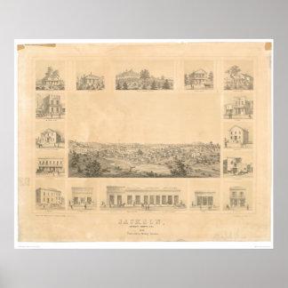 Jackson, mapa panorámico 1857 (0766A) del CA Póster