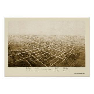 Jackson, mapa panorámico del MI - 1868 Póster