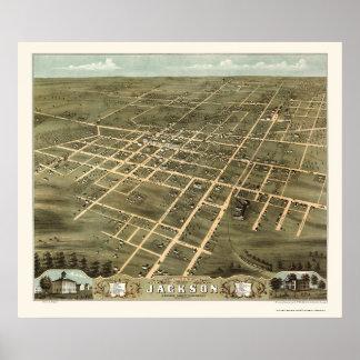 Jackson, mapa panorámico del TN - 1870 Póster