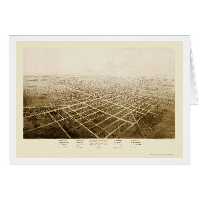 Jackson, MI Panoramic Map - 1868 Card
