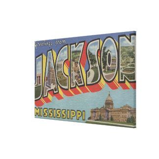 Jackson, Mississippi - Large Letter Scenes Canvas Print