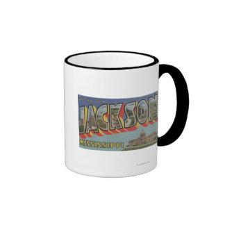 Jackson, Mississippi - Large Letter Scenes Ringer Coffee Mug