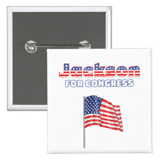 Jackson para la bandera americana patriótica del c pin cuadrada 5 cm