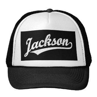 Jackson script logo in white distressed trucker hat
