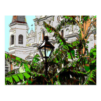 Jackson Square New Orleans Lamp Post Postcard