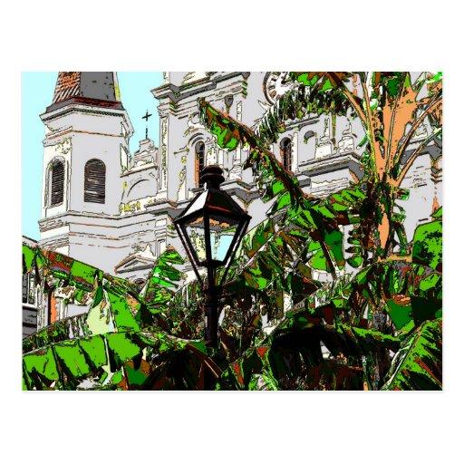 Jackson Square New Orleans Lamp Post Postcard