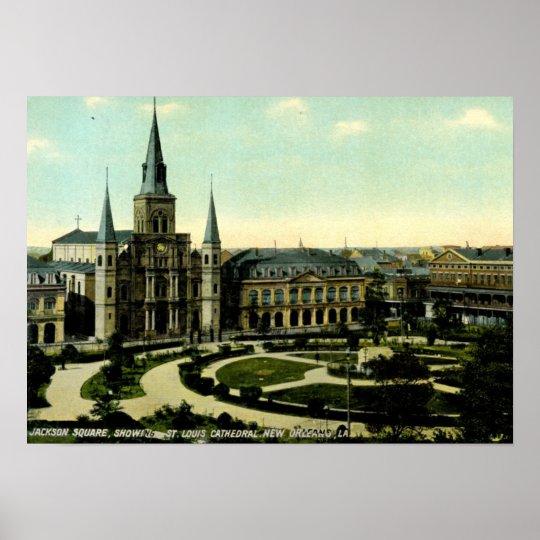 Jackson Square, New Orleans, Louisiana 1910 Poster