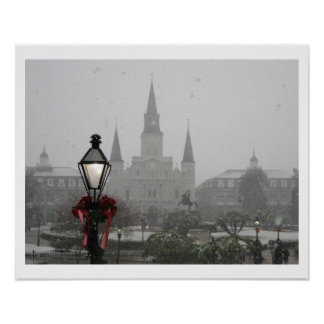 Jackson Square, St Louis Cathedral in the Snow Poster