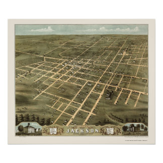 Jackson, TN Panoramic Map - 1870 Poster