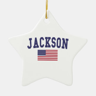 Jackson TN US Flag Ceramic Ornament