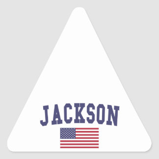 Jackson TN US Flag Triangle Sticker