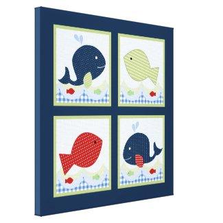 Jackson//Whale/Fish 16x16 inch Canvas Print