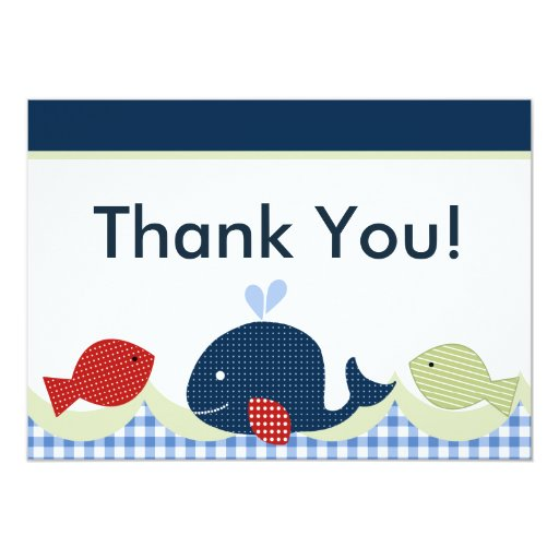 Jackson Whale Fish Baby Shower Thank You Card Zazzle
