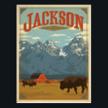 "Jackson, WY Postcard<br><div class=""desc"">Anderson Design Group is an award-winning illustration and design firm in Nashville,  Tennessee. Founder Joel Anderson directs a team of talented artists to create original poster art that looks like classic vintage advertising prints from the 1920s to the 1960s.</div>"