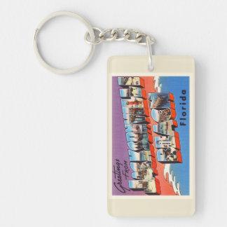 Jacksonville Beach Florida FL Old Travel Souvenir Keychain