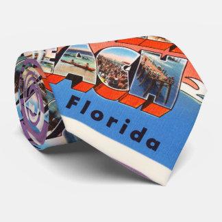 Jacksonville Beach Florida FL Old Travel Souvenir Neck Tie